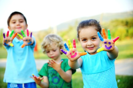 Kids Playing Paint Colorful Bright Happy