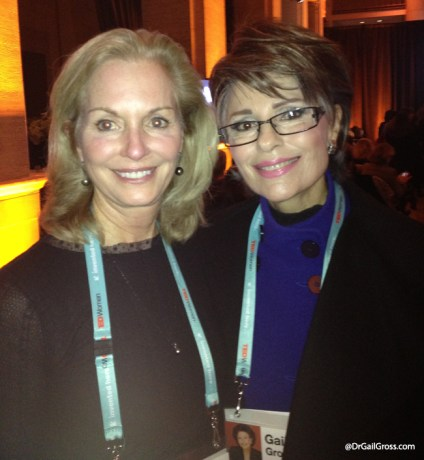 Dr. Gail Gross with Diane Casel, sister of philanthropist Lyn Lear, at TEDWomen 2013.