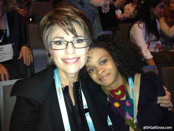 Dr. Gail Gross with 8-year-old entrepreneur Maya Penn at TEDWomen 2013.