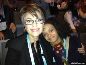 Dr. Gail Gross with 8-year-old entrepreneur Maya Penn at TEDWomen 2013.