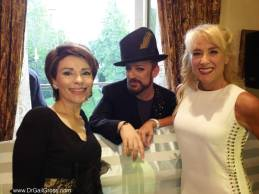 Celebrating the birthday of my friend Dr. Mireille Gillings in London with Boy George