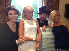Celebrating the birthday of my friend Dr. Mireille Gillings in London with Boy George and Renee Parsons.