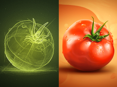 tomato 25 Gorgeous 3D Fruit & Vegetable Illustrations