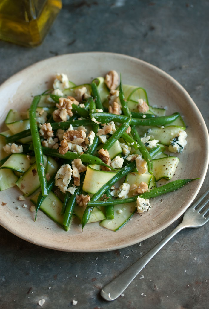 zucchini, green bean & blue cheese salad with walnuts