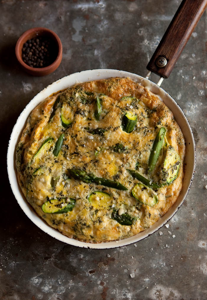 asparagus, zucchini and mint frittata