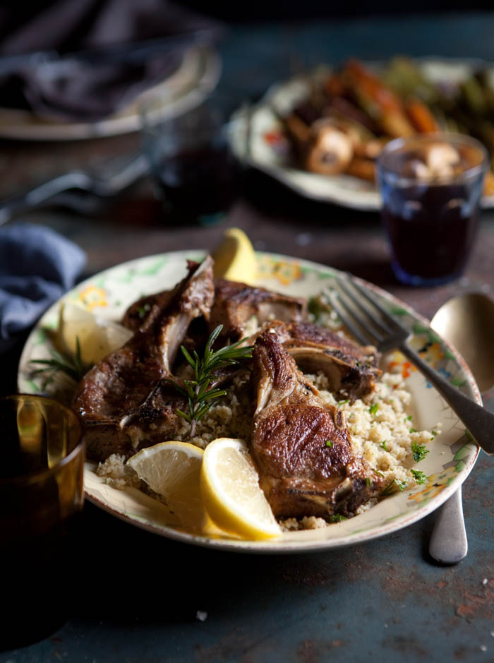 grilled lamb chops with with rosemary and garlic