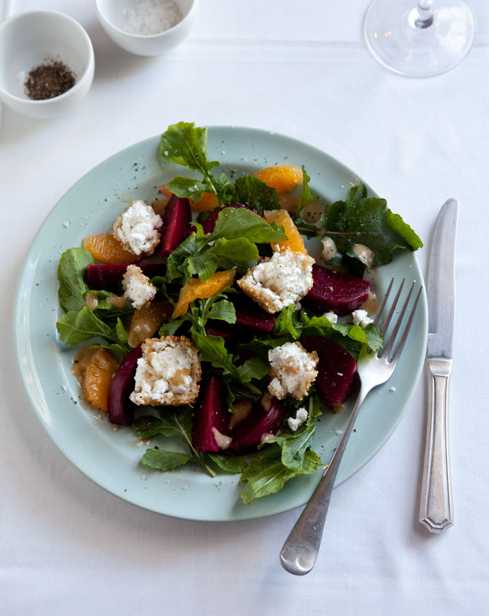 beetroot and orange salad with goats cheese and honey