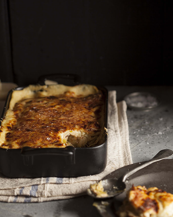 chicken, leek and mushroom pancake bake