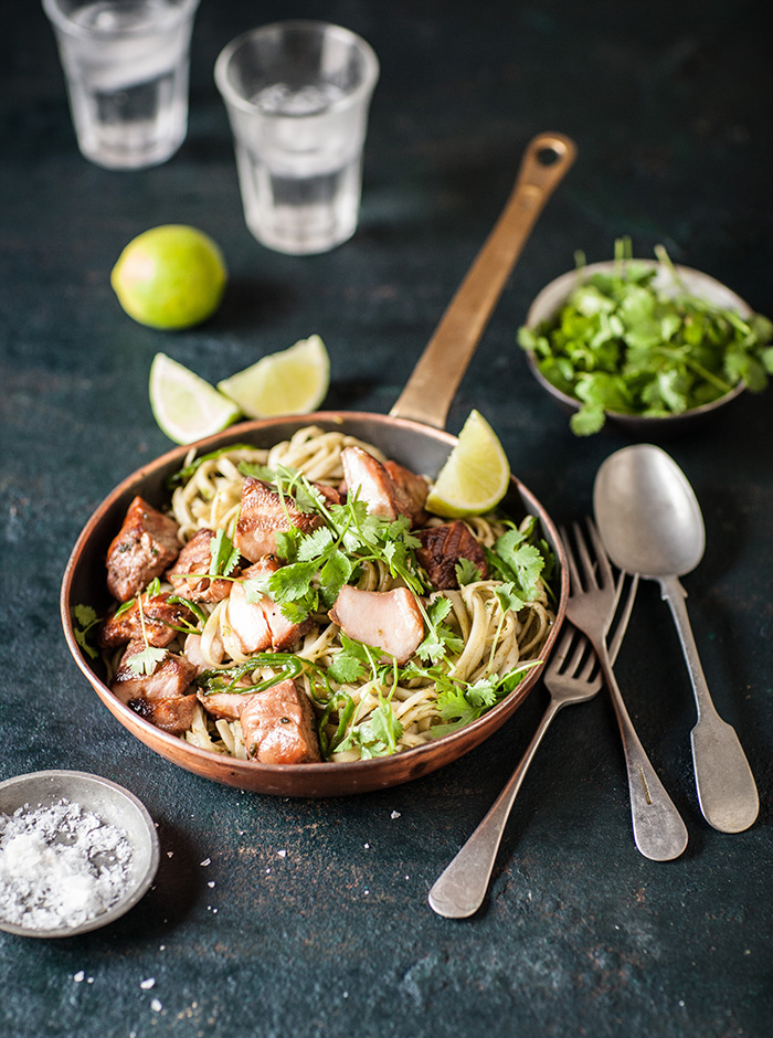 easy grilled salmon on thai pesto noodles