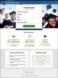 College scorecard homepage