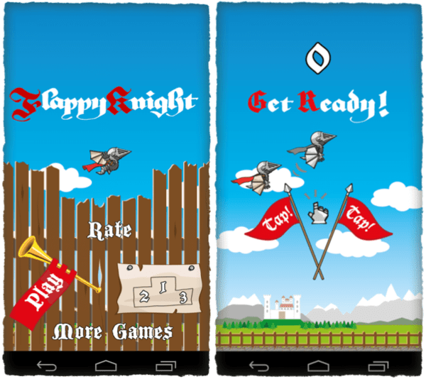 Flappy Knight's main menu and get ready screen