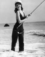 Old school bikini fishing girl