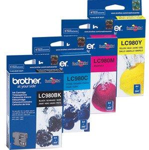 Original Tinte Brother LC-980VALBPDR - 4x Premium Drucker-Patrone - Schwarz, Cyan, Magenta, Gelb - 1 x 360 & 3 x 260 Seiten - 1 x 6 & 3 x 5,5 ml