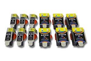 vhbw 12x Druckerpatronen Tintenpatronen Set mit Chip für Samsung CJX-1000, CJX-1050, CJX-1050W wie INK-C210, INK-M210, INK-M215.