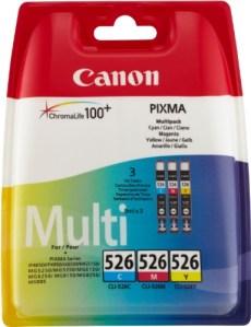 Canon CLI-526 C/M/Y Original Tintenpatronen, Multipack je 9ml cyan, magenta, gelb