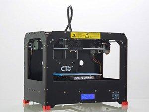 Schwarz 3D-Drucker Direkt Losdrucken! + Software + 1 Rolle ABS/PLA Filament + Dual Extruder + beheizbare Bauplattform + Zubehör