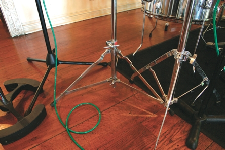 Fig. 1 This Slingerland stand shows the typical single-braced A-frame leg construction of the '70s.