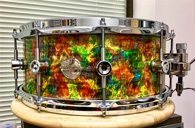 "The Electric Kool-Aid 14"" x 6"" snare is made of curly maple."