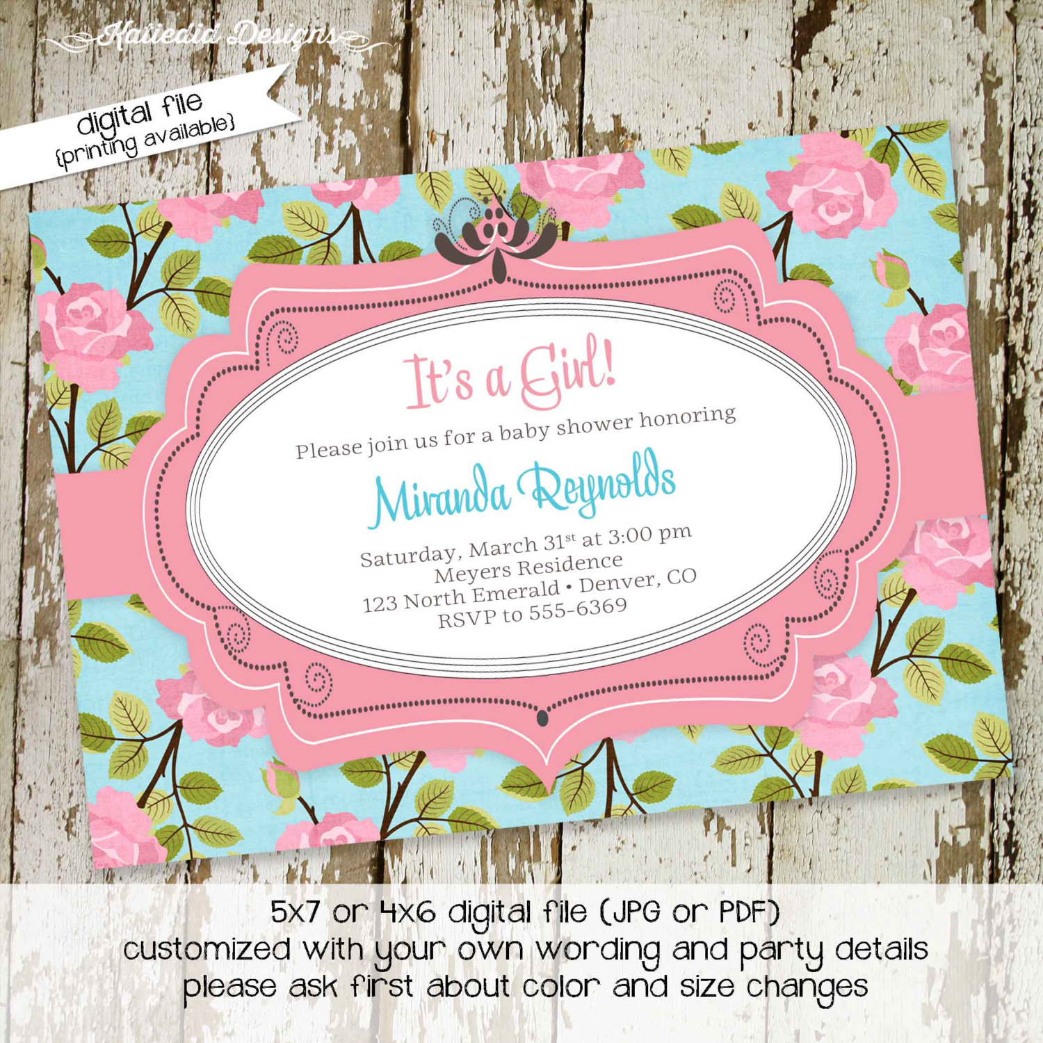 Especial Floral Baby Shower Invitation Sprinkle By Katiedid Designs On Zibbet Baby Girl Shower Invitations Online Baby Girl Shower Invitations Wording baby shower Baby Girl Shower Invitations