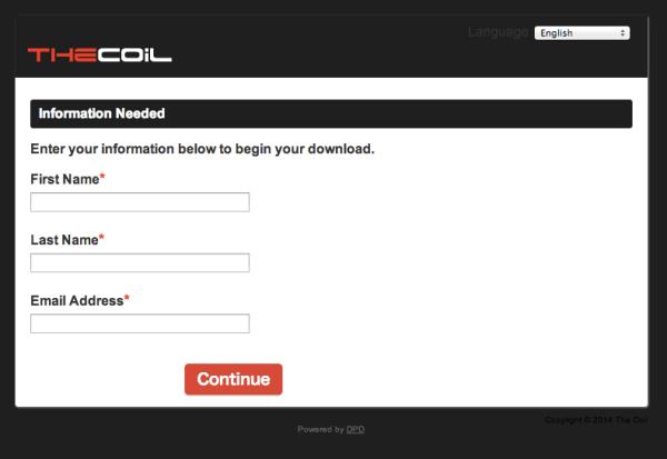名前とEメールアドレスを入力して「Continue」ボタンを押す