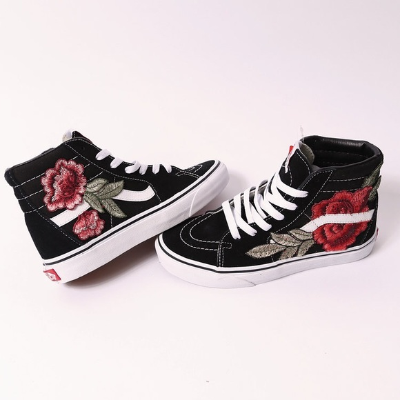 Vans Shoes   Custom Rose Patch Sk8hi   Poshmark Custom rose patch Vans sk8 hi