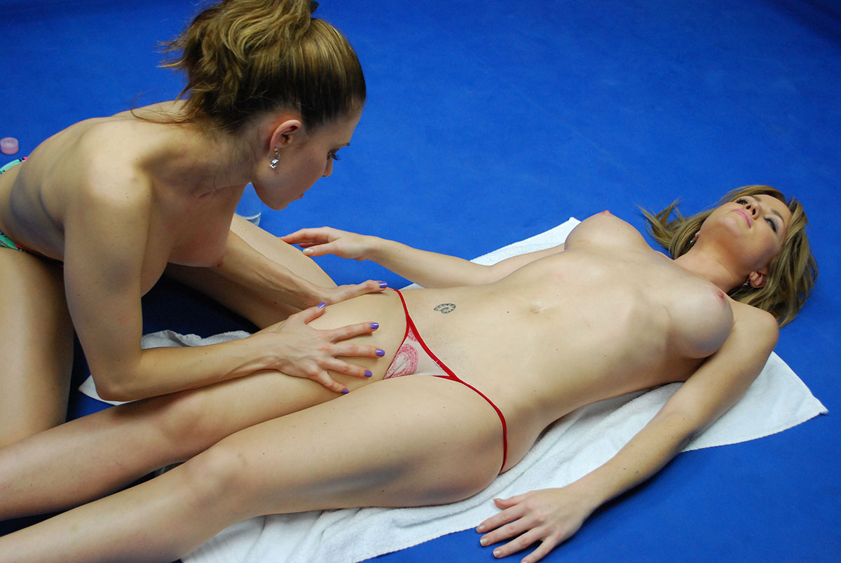 female wrestling breast punishment