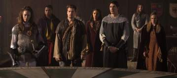 "DC's Legends of Tomorrow --""Camelot/3000""-- LGN212b_0193.jpg -- Pictured (L-R): Elyse Levesque as Guinevere, Franz Drameh as Jefferson ""Jax"" Jackson, Nick Zano as Nate Heywood/Steel, Maisie Richardson- Sellers as Amaya Jiwe/Vixen, Brandon Routh as Ray Palmer/Atom and Caity Lotz as Sara Lance/White Canary  -- Photo: Jack Rowand /The CW -- © 2017 The CW Network, LLC. All Rights Reserved"