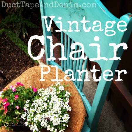 Vintage chair planter painted with CeCe Caldwell's Dustin Green natural chalk and clay paint | DuctTapeAndDenim.com