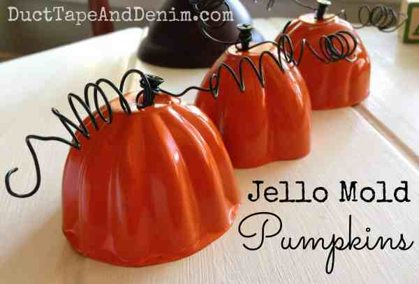 Jello mold pumpkins.  Tutorial on blog. | DuctTapeAndDenim.com