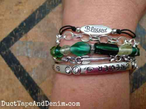 Arm party with green beads | DuctTapeAndDenim.com