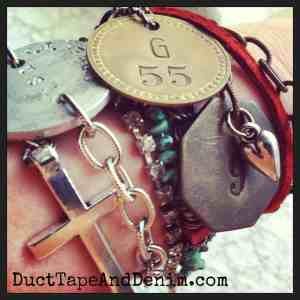Vintage brass tag bracelets in my arm party | DuctTapeAndDenim.com