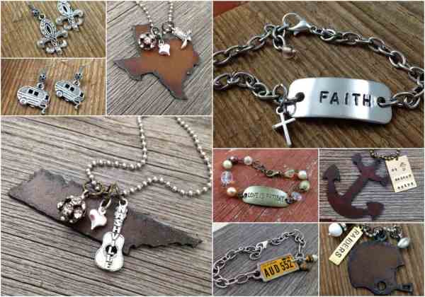 Welcome to Duct Tape and Denim Handstamped Jewelry collage for home page | DuctTapeAndDenim.com