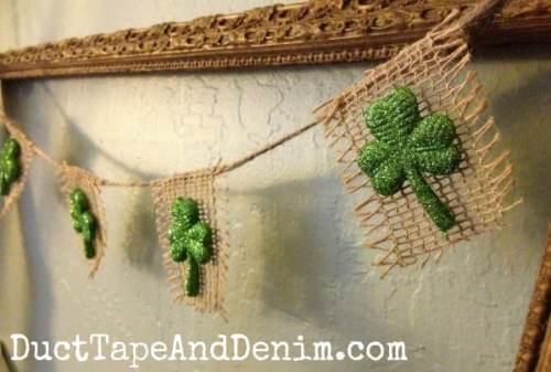 Glittery shamrock burlap garland | DuctTapeAndDenim.com