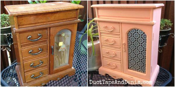 Before and after vintage jewelry box makeover. | DuctTapeAndDenim.com