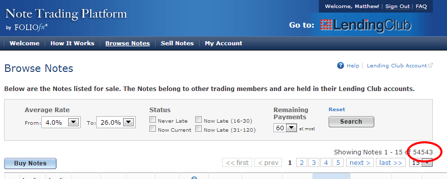 Notes Available on Note Trading Platform 01-29-13