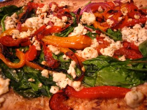Roasted Peppers, Spinach and Feta pizza