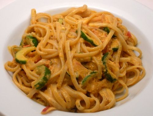 Linguine with Muhammara Goat Cheese-Duo Dishes