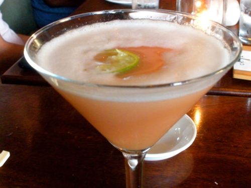 Guava Martini: Chaya infusion, guava juice, sweet &amp; sour and lime