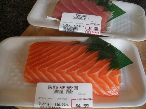 Fresh tuna and salmon-Duo Dishes