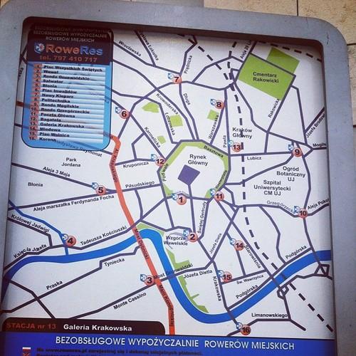 Mapa trzynastu stacji rowerowych Roweres Kraków - miejska wypożyczalnia rowerów w Krakowie
