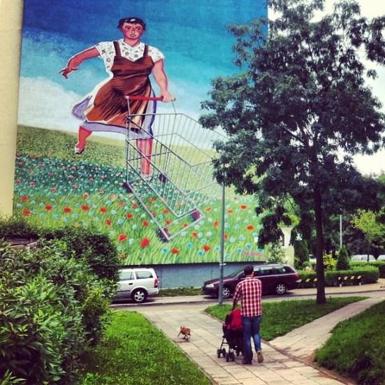 Mural na ulicy Bajana 5a. Klaus Klinger, Monumetal Art 2012