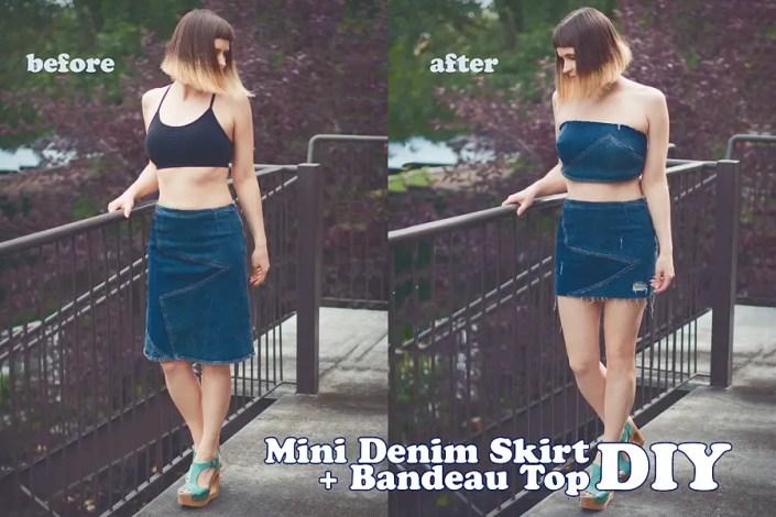 New Life Of Old Denim Skirt: DIY Bandeau Top + Mini Skirt