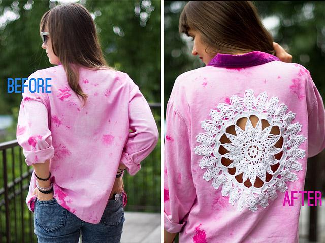 Made Pretty Diy Doily Embellished Shirt Dushonok