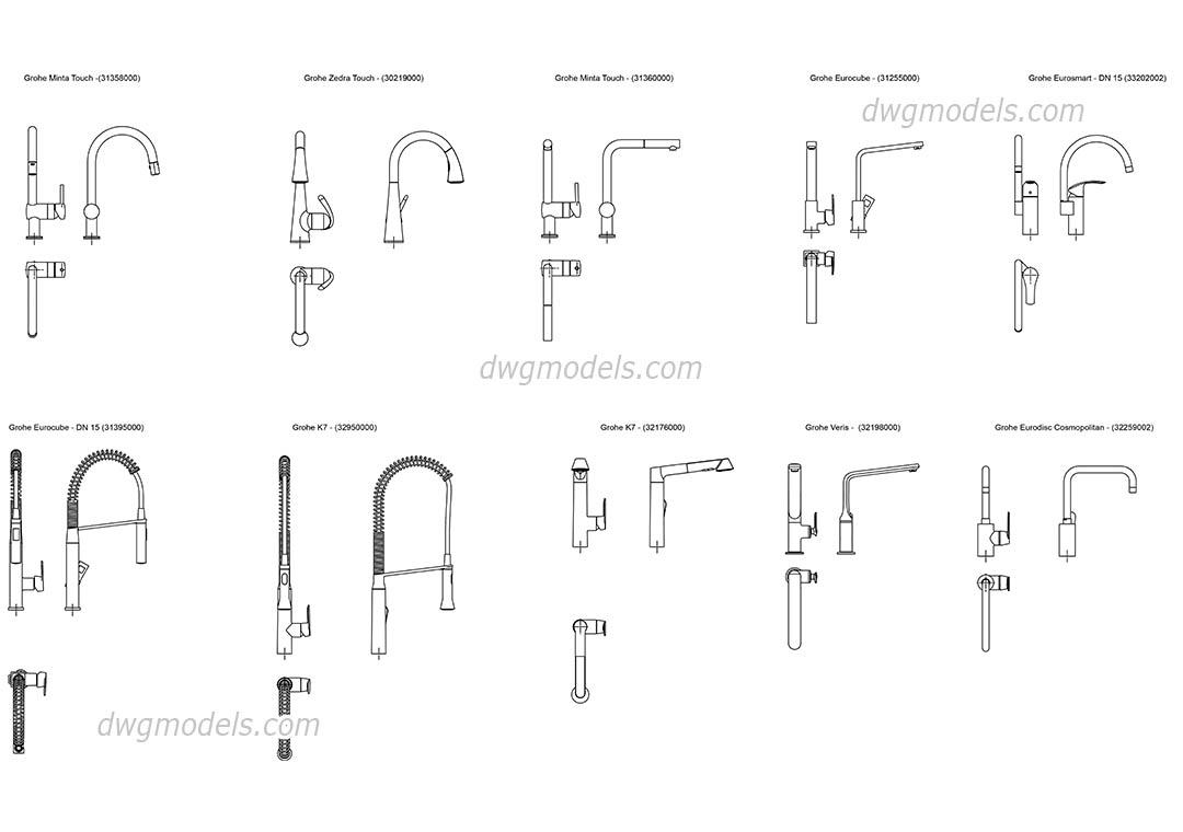 grohe kitchen faucets grohe kitchen faucets Grohe kitchen faucets dwg CAD Blocks free download