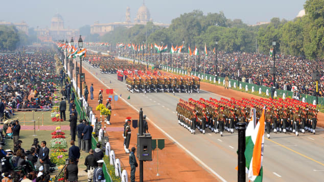 Indian army soldiers march during the Republic Day parade on the Rajpath in Delhi on January 26, 2012.