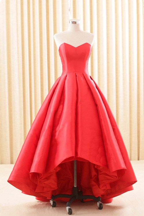 Artistic Sweeart Red Satin Low Homecoming Strapless Long Pleated Promdresses Sweeart Red Satin Low Homecoming Strapless Long Low Prom Dresses Style Low Prom Dresses Near Me