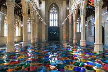 Reflective multi-coloured pool installation at St. John Church in North Lincolnshire - 01