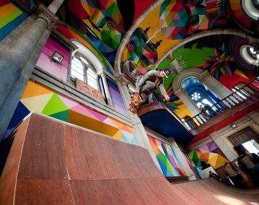 Skate Church in Spain receives a personal touch by artist Okuda San Miguel