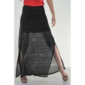 Μακριά φούστα δαντέλα μαύρη