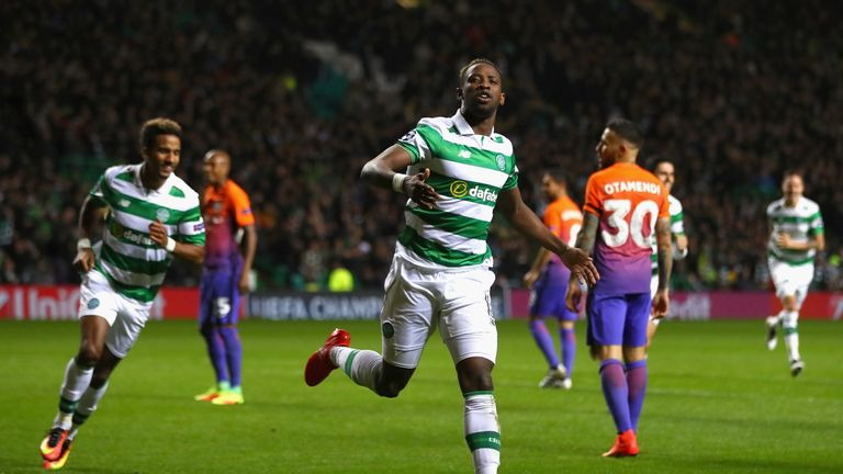 Moussa Dembele grabbed two goals for Celtic against Man City